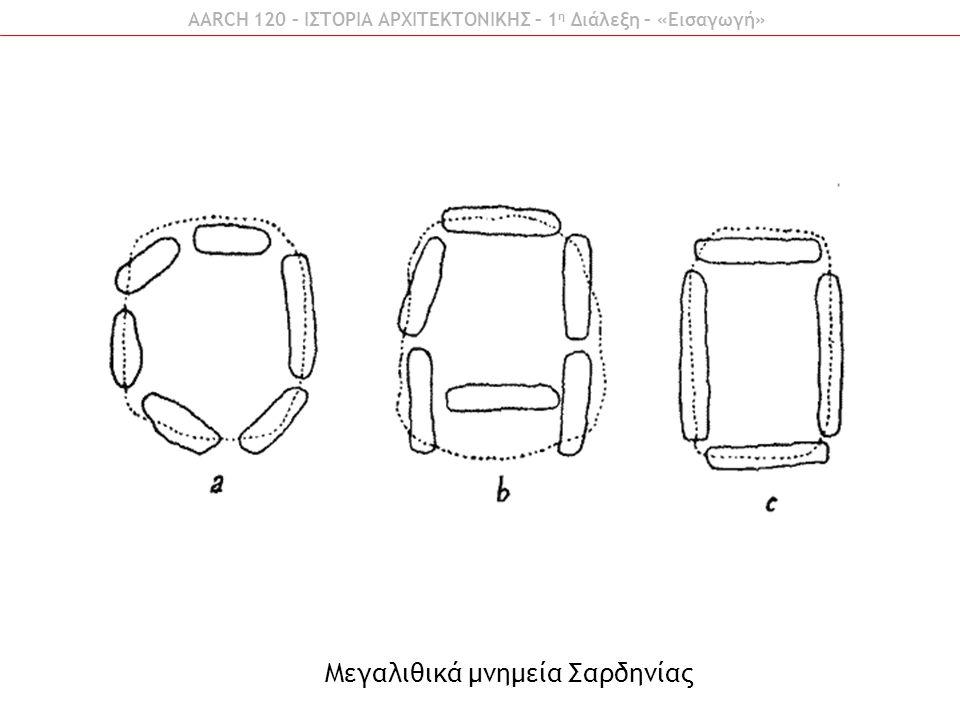 AARCH 120 – ΙΣΤΟΡΙΑ ΑΡΧΙΤΕΚΤΟΝΙΚΗΣ – 1 η Διάλεξη – «Εισαγωγή» Μεγαλιθικά μνημεία Σαρδηνίας