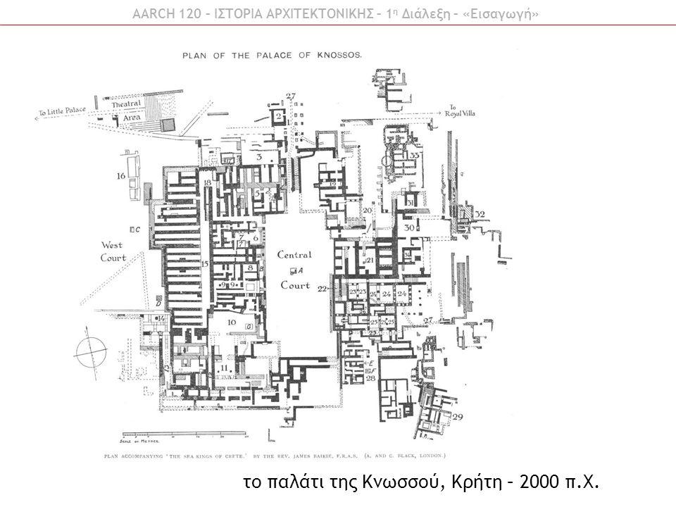 AARCH 120 – ΙΣΤΟΡΙΑ ΑΡΧΙΤΕΚΤΟΝΙΚΗΣ – 1 η Διάλεξη – «Εισαγωγή» το παλάτι της Κνωσσού, Κρήτη – 2000 π.Χ.