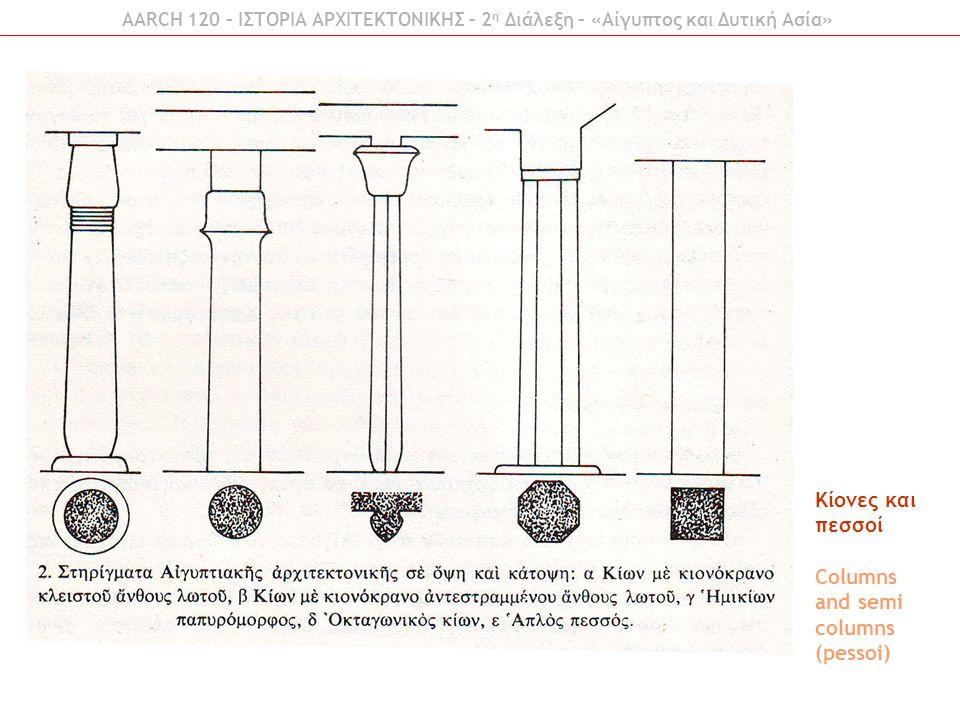 Κίονες και κιονόκρανα Columns and capitals AARCH 120 – ΙΣΤΟΡΙΑ ΑΡΧΙΤΕΚΤΟΝΙΚΗΣ – 2 η Διάλεξη – «Αίγυπτος και Δυτική Ασία»