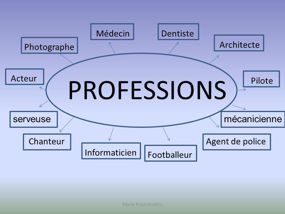 Maria Koundourou PROFESSIONS Pilote Architecte DentisteMédecin Photographe Chanteur Acteur Agent de police Footballeur Informaticien mécanicienneserveuse