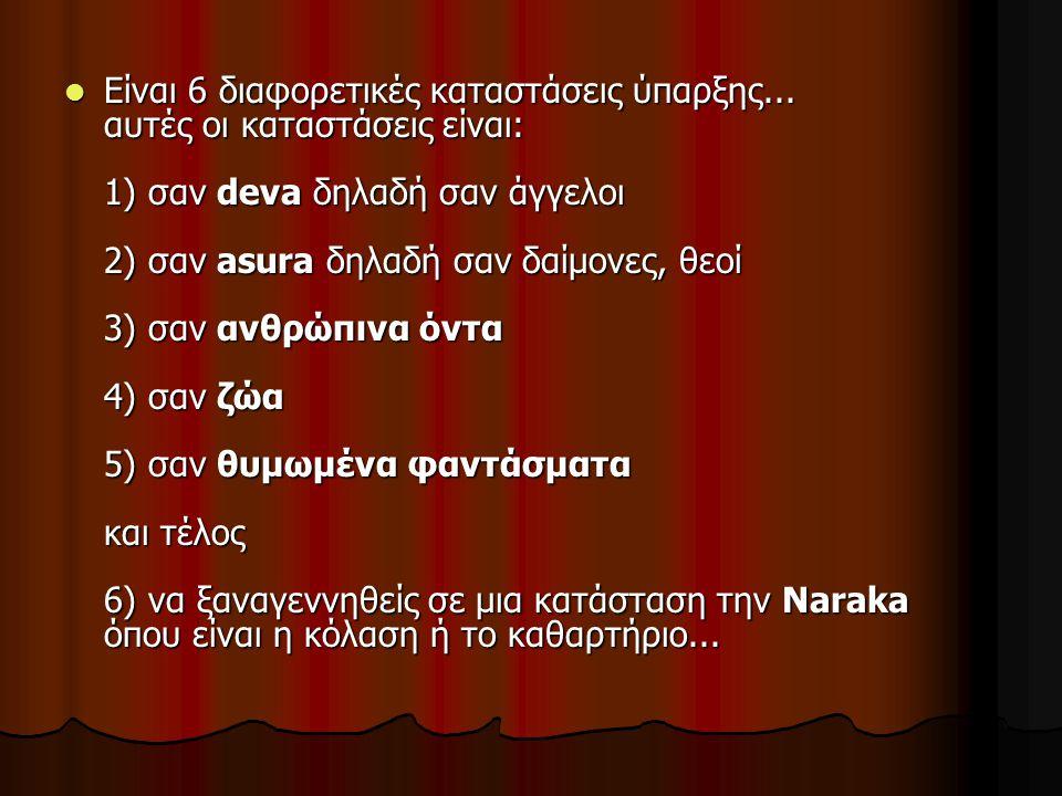 Είναι 6 διαφορετικές καταστάσεις ύπαρξης... αυτές οι καταστάσεις είναι: 1) σαν deva δηλαδή σαν άγγελοι 2) σαν asura δηλαδή σαν δαίμονες, θεοί 3) σαν α