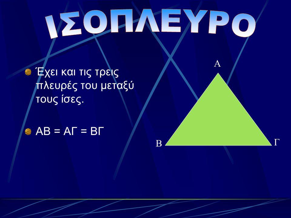 Έχει και τις τρεις πλευρές του μεταξύ τους ίσες. ΑΒ = ΑΓ = ΒΓ Α Β Γ