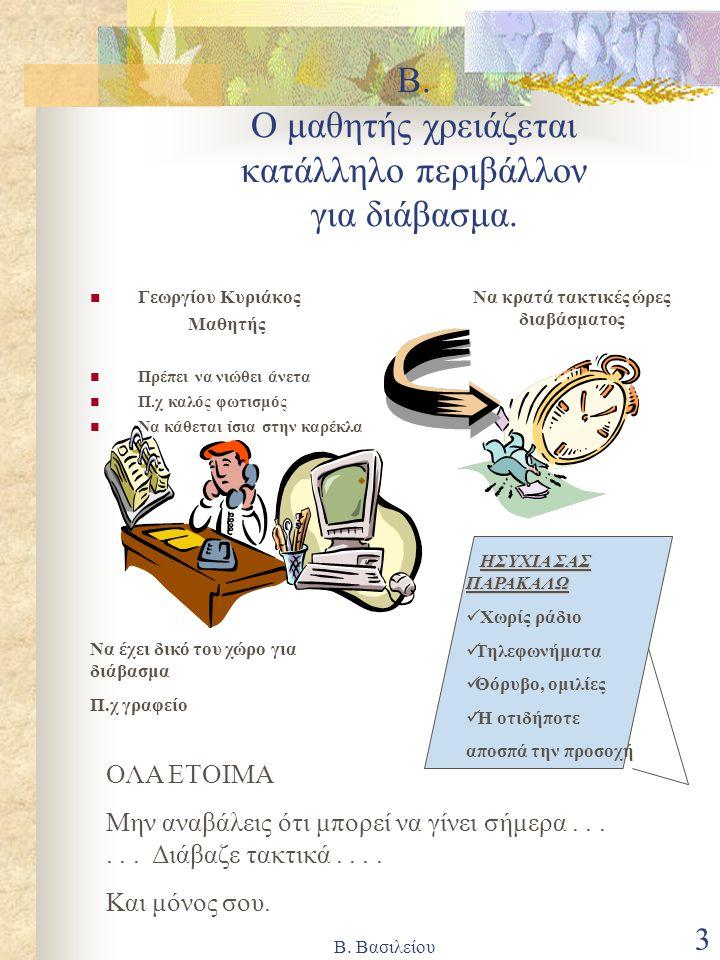 Β. Βασιλείου 3 Β. Ο μαθητής χρειάζεται κατάλληλο περιβάλλον για διάβασμα. Γεωργίου Κυριάκος Μαθητής Πρέπει να νιώθει άνετα Π.χ καλός φωτισμός Να κάθετ