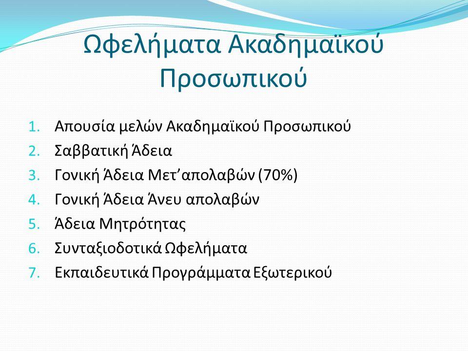 Ωφελήματα Ακαδημαϊκού Προσωπικού 1. Απουσία μελών Ακαδημαϊκού Προσωπικού 2. Σαββατική Άδεια 3. Γονική Άδεια Μετ'απολαβών (70%) 4. Γονική Άδεια Άνευ απ