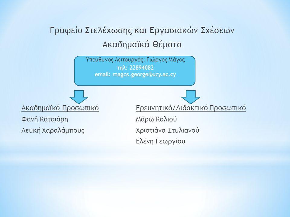 Γραφείο Στελέχωσης και Εργασιακών Σχέσεων Ακαδημαϊκά Θέματα Ακαδημαϊκό ΠροσωπικόΕρευνητικό/Διδακτικό Προσωπικό Φανή ΚατσιάρηΜάρω Κολιού Λευκή ΧαραλάμπουςΧριστιάνα Στυλιανού Ελένη Γεωργίου Υπεύθυνος Λειτουργός: Γιώργος Μάγος τηλ: 22894082 email: magos.george@ucy.ac.cy