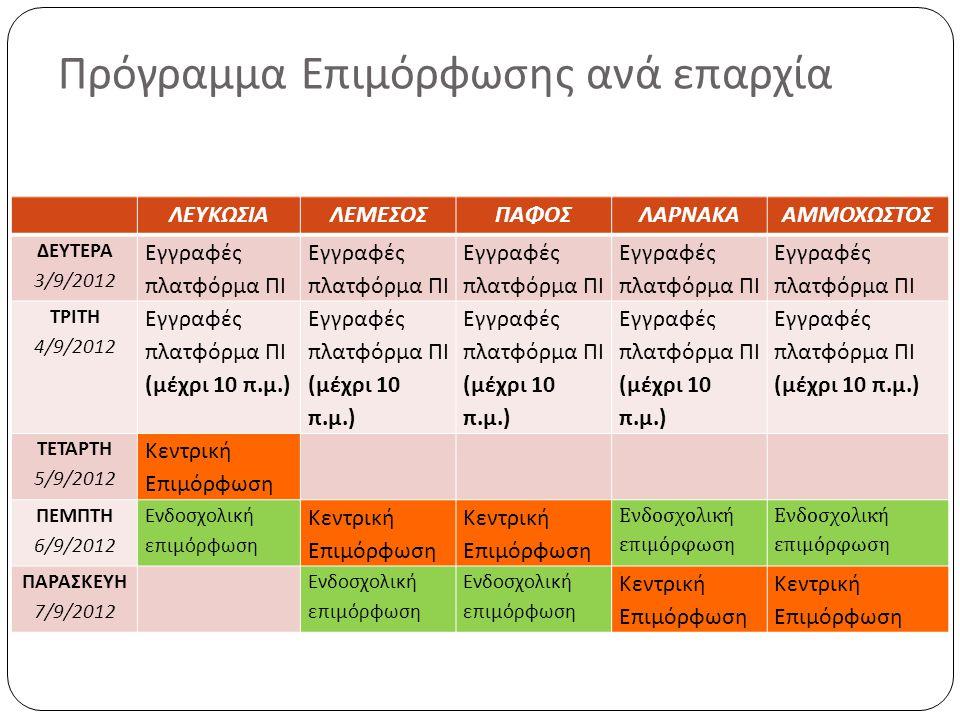 Πρόγραμμα Επιμόρφωσης ανά επαρχία ΛΕΥΚΩΣΙΑΛΕΜΕΣΟΣΠΑΦΟΣΛΑΡΝΑΚΑΑΜΜΟΧΩΣΤΟΣ ΔΕΥΤΕΡΑ 3/9/2012 Εγγραφές πλατφόρμα ΠΙ ΤΡΙΤΗ 4/9/2012 Εγγραφές πλατφόρμα ΠΙ (μ