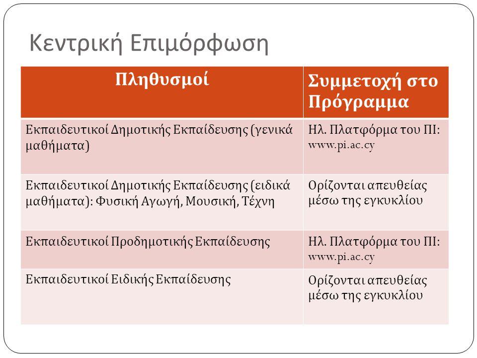 Κεντρική Επιμόρφωση ΠληθυσμοίΣυμμετοχή στο Πρόγραμμα Εκπαιδευτικοί Δημοτικής Εκπαίδευσης ( γενικά μαθήματα ) Ηλ. Πλατφόρμα του ΠΙ : www.pi.ac.cy Εκπαι