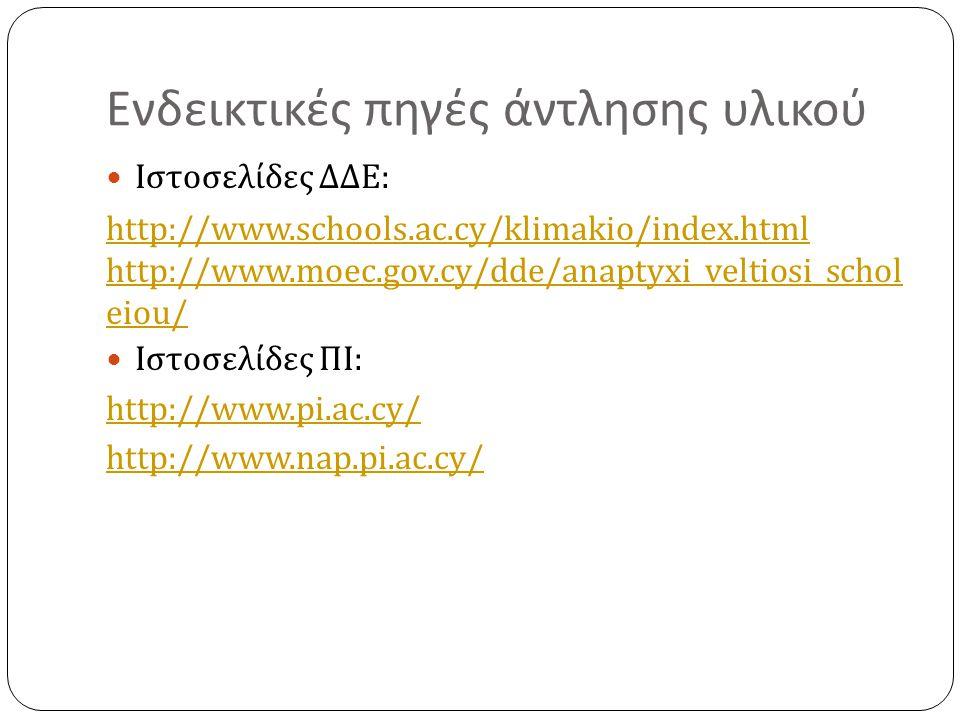 Ενδεικτικές πηγές άντλησης υλικού Ιστοσελίδες ΔΔΕ : http://www.schools.ac.cy/klimakio/index.html http://www.moec.gov.cy/dde/anaptyxi_veltiosi_schol ei