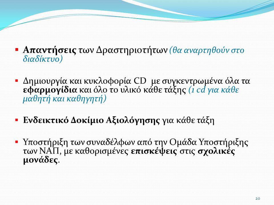  Απαντήσεις των Δραστηριοτήτων (θα αναρτηθούν στο διαδίκτυο)  Δημιουργία και κυκλοφορία CD με συγκεντρωμένα όλα τα εφαρμογίδια και όλο το υλικό κάθε