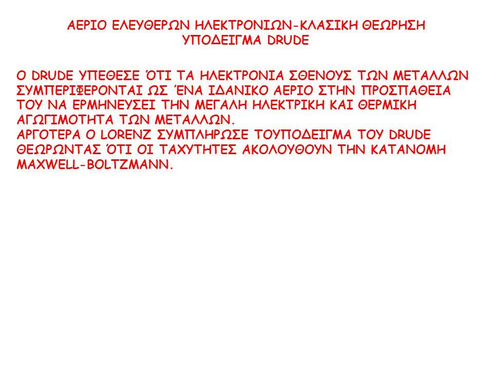 ΑΕΡΙΟ ΕΛΕΥΘΕΡΩΝ ΗΛΕΚΤΡΟΝΙΩΝ-ΚΛΑΣΙΚΗ ΘΕΩΡΗΣΗ ΥΠΟΔΕΙΓΜΑ DRUDE Ο DRUDE ΥΠΕΘΕΣΕ ΌΤΙ ΤΑ ΗΛΕΚΤΡΟΝΙΑ ΣΘΕΝΟΥΣ ΤΩΝ ΜΕΤΑΛΛΩΝ ΣΥΜΠΕΡΙΦΕΡΟΝΤΑΙ ΩΣ ΈΝΑ ΙΔΑΝΙΚΟ ΑΕΡΙ