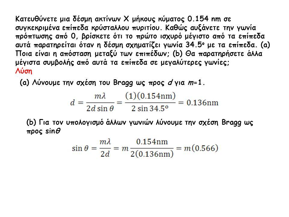 Κατευθύνετε μια δέσμη ακτίνων Χ μήκους κύματος 0.154 nm σε συγκεκριμένα επίπεδα κρύσταλλου πυριτίου. Καθώς αυξάνετε την γωνία πρόπτωσης από 0, βρίσκετ