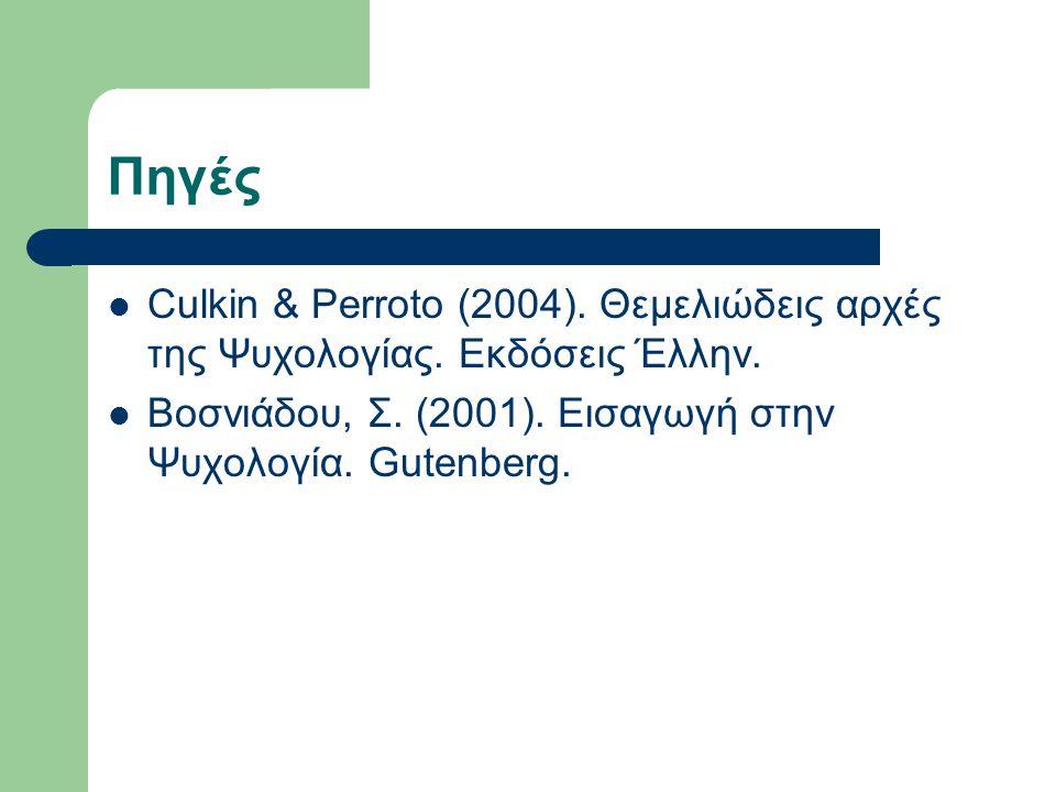 Πηγές Culkin & Perroto (2004). Θεμελιώδεις αρχές της Ψυχολογίας. Εκδόσεις Έλλην. Βοσνιάδου, Σ. (2001). Εισαγωγή στην Ψυχολογία. Gutenberg.