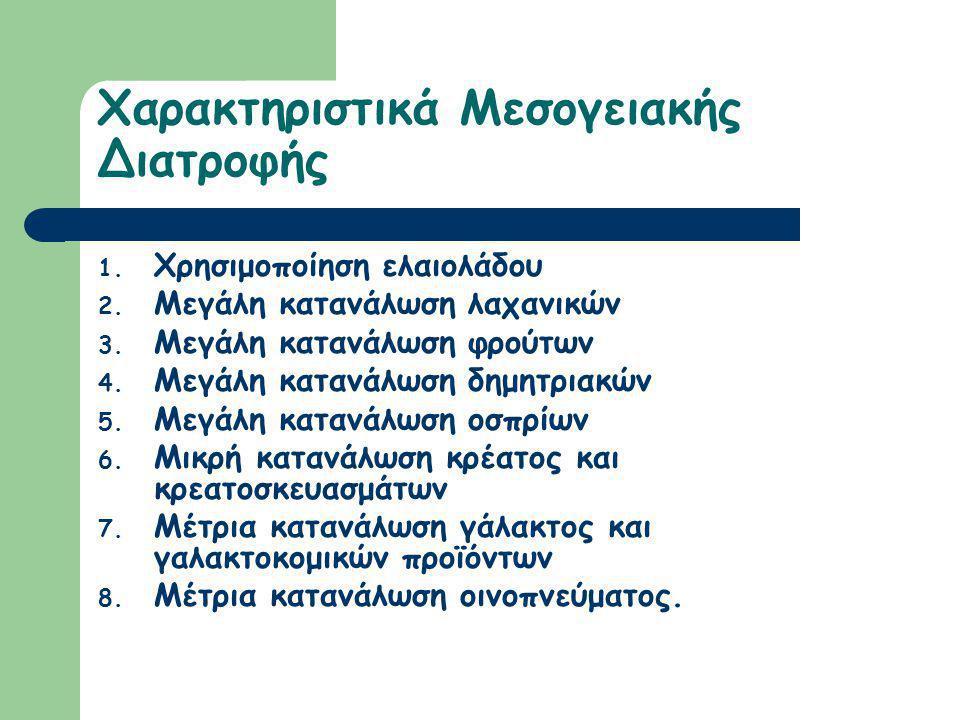 Μεσογειακή διατροφή Τη συναντάμε σε χώρες της ΜεσογείουΜεσογείου Κεντρική θέση κατέχει το ελαιόλαδο Κύρια συστατικά αποτελούν το σιτάρι, η ελιά, το στ