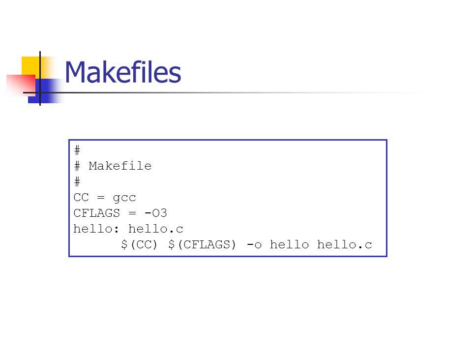 Makefiles # # Makefile # CC = gcc CFLAGS = -O3 hello: hello.c $(CC) $(CFLAGS) -o hello hello.c