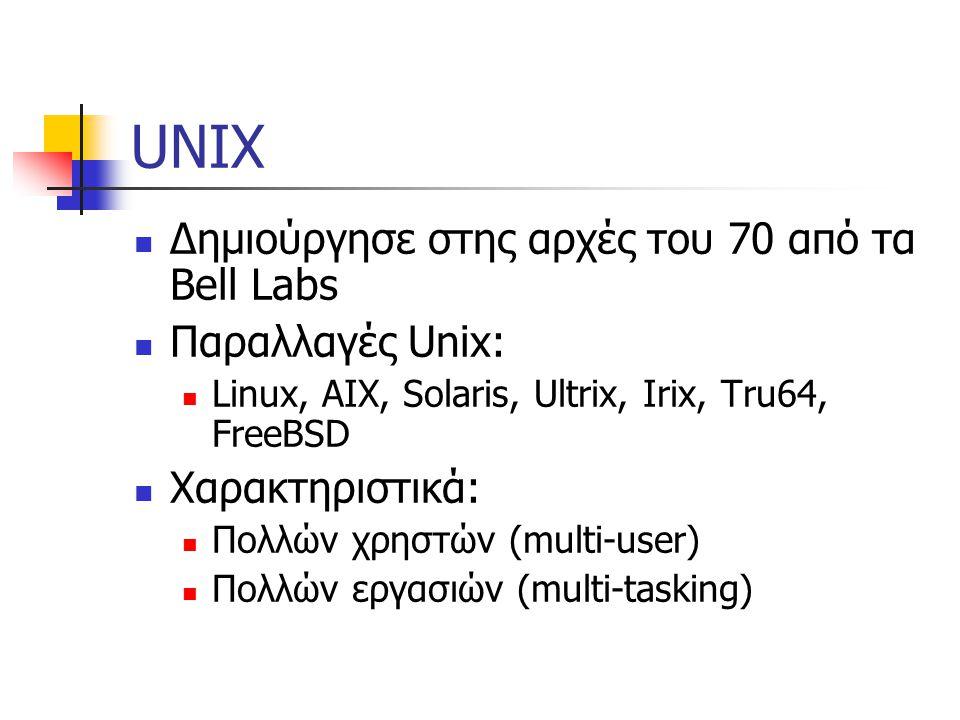 UNIX Δημιούργησε στης αρχές του 70 από τα Bell Labs Παραλλαγές Unix: Linux, AIX, Solaris, Ultrix, Irix, Tru64, FreeBSD Χαρακτηριστικά: Πολλών χρηστών (multi-user) Πολλών εργασιών (multi-tasking)