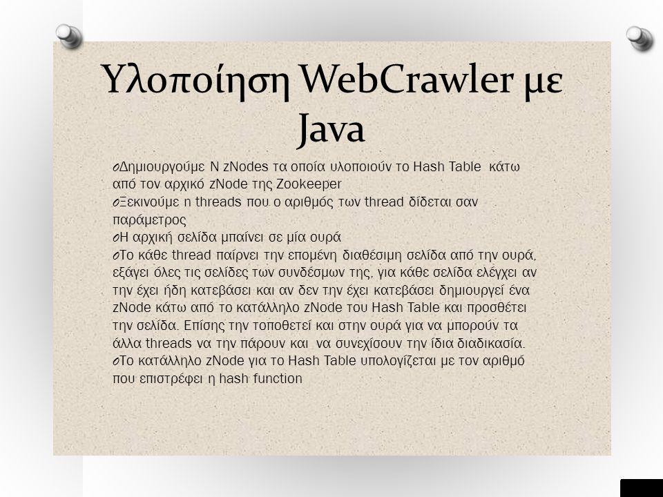 Υλοποίηση WebCrawler με Java O Δημιουργούμε Ν zNodes τα οποία υλοποιούν το Hash Table κάτω από τον αρχικό zNode της Zookeeper O Ξεκινούμε n threads που ο αριθμός των thread δίδεται σαν παράμετρος O Η αρχική σελίδα μπαίνει σε μία ουρά O Το κάθε thread παίρνει την επομένη διαθέσιμη σελίδα από την ουρά, εξάγει όλες τις σελίδες των συνδέσμων της, για κάθε σελίδα ελέγχει αν την έχει ήδη κατεβάσει και αν δεν την έχει κατεβάσει δημιουργεί ένα zNode κάτω από το κατάλληλο zNode του Hash Table και προσθέτει την σελίδα.