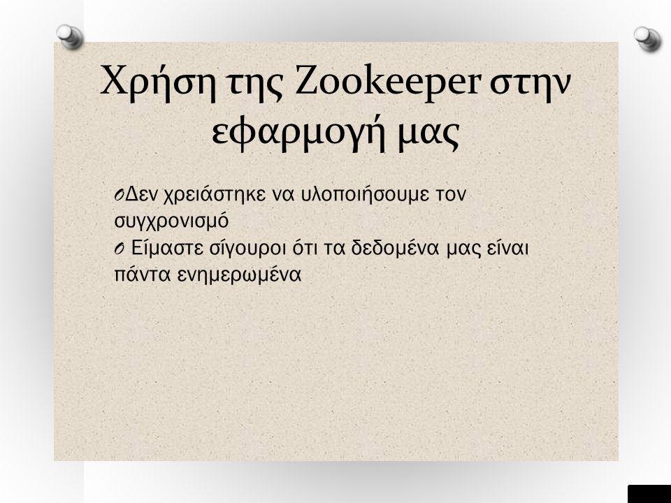 Χρήση της Zookeeper στην εφαρμογή μας O Δεν χρειάστηκε να υλοποιήσουμε τον συγχρονισμό O Είμαστε σίγουροι ότι τα δεδομένα μας είναι πάντα ενημερωμένα