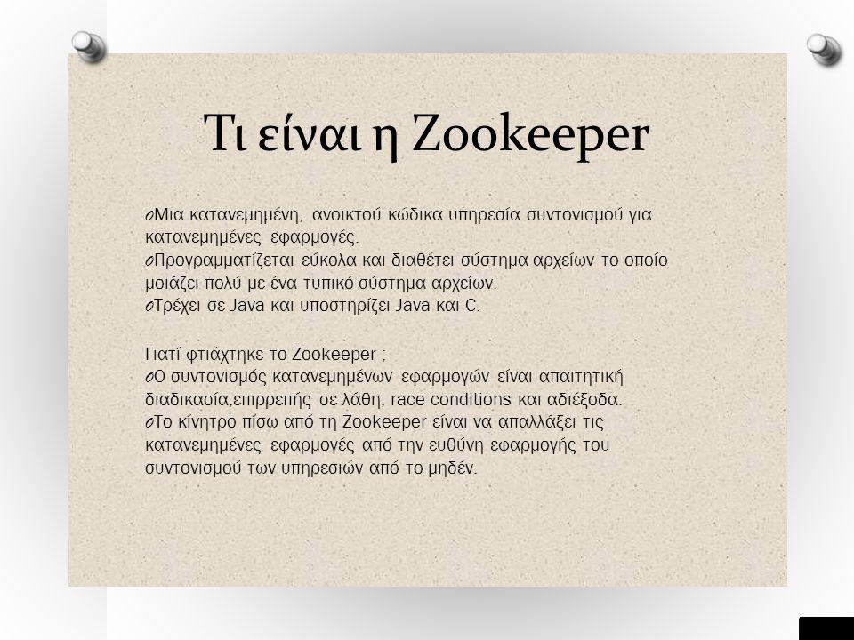 Τι είναι η Zookeeper O Μια κατανεμημένη, ανοικτού κώδικα υπηρεσία συντονισμού για κατανεμημένες εφαρμογές.