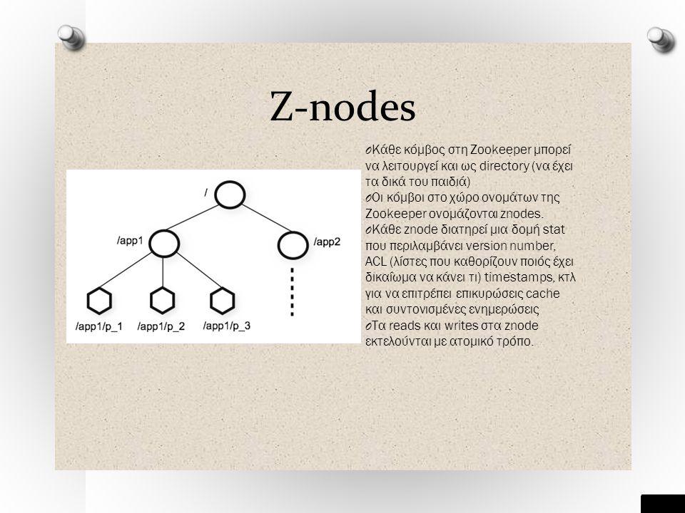 Z-nodes O Κάθε κόμβος στη Zookeeper μπορεί να λειτουργεί και ως directory (να έχει τα δικά του παιδιά) O Οι κόμβοι στο χώρο ονομάτων της Zookeeper ονομάζονται znodes.