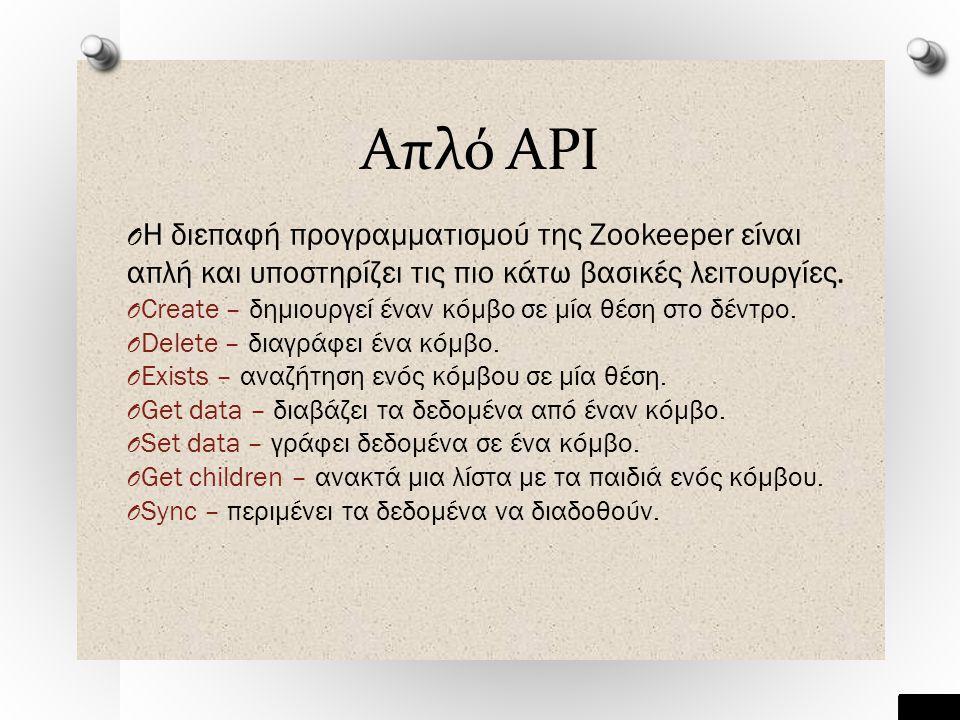 Απλό API O Η διεπαφή προγραμματισμού της Zookeeper είναι απλή και υποστηρίζει τις πιο κάτω βασικές λειτουργίες.