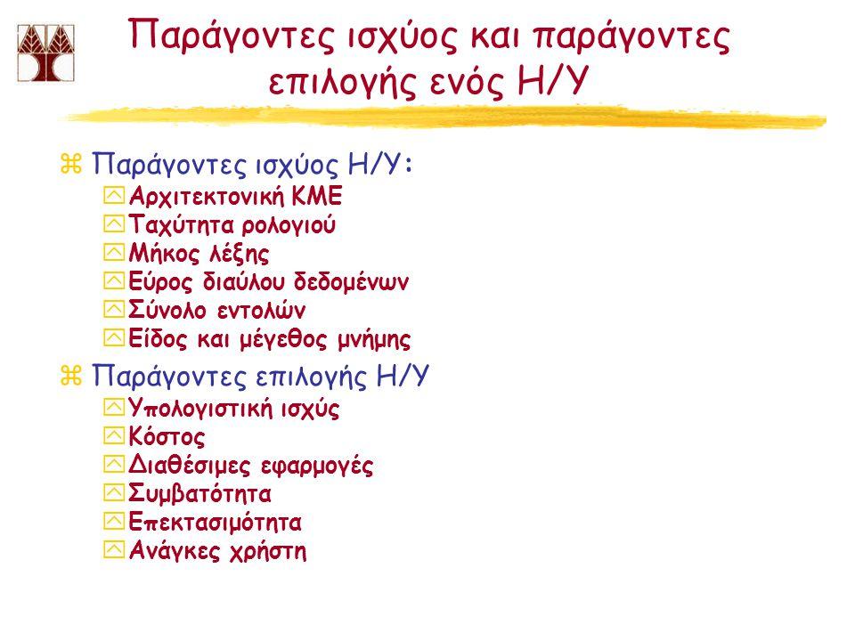 Παράγοντες ισχύος και παράγοντες επιλογής ενός Η/Υ zΠαράγοντες ισχύος Η/Υ: yΑρχιτεκτονική ΚΜΕ yΤαχύτητα ρολογιού yΜήκος λέξης yΕύρος διαύλου δεδομένων yΣύνολο εντολών yΕίδος και μέγεθος μνήμης zΠαράγοντες επιλογής Η/Υ yΥπολογιστική ισχύς yΚόστος yΔιαθέσιμες εφαρμογές yΣυμβατότητα yΕπεκτασιμότητα yΑνάγκες χρήστη