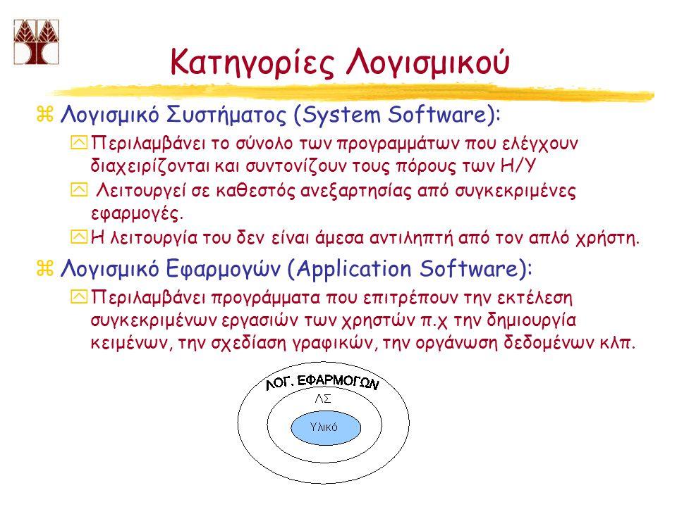 Κατηγορίες Λογισμικού zΛογισμικό Συστήματος (System Software): yΠεριλαμβάνει το σύνολο των προγραμμάτων που ελέγχουν διαχειρίζονται και συντονίζουν το