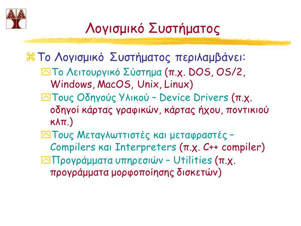 Λογισμικό Συστήματος zΤο Λογισμικό Συστήματος περιλαμβάνει: yTo Λειτουργικό Σύστημα (π.χ. DOS, OS/2, Windows, MacOS, Unix, Linux) yΤους Οδηγούς Υλικού
