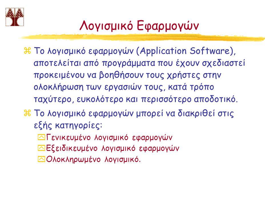 Λογισμικό Εφαρμογών zΤο λογισμικό εφαρμογών (Application Software), αποτελείται από προγράμματα που έχουν σχεδιαστεί προκειμένου να βοηθήσουν τους χρή