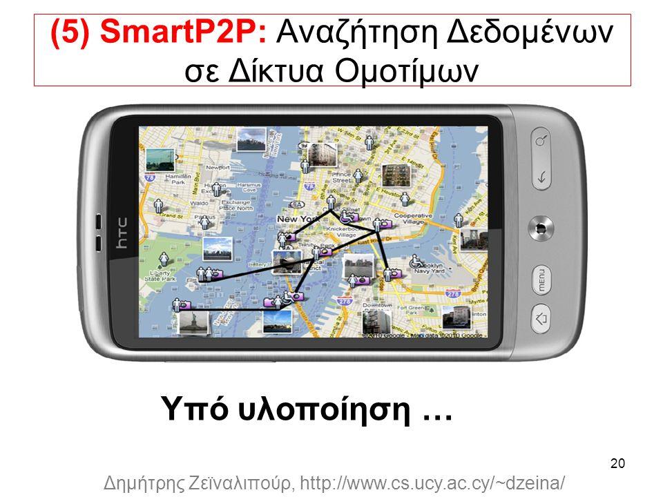 Dagstuhl Seminar 10042, Demetris Zeinalipour, University of Cyprus, 26/1/2010 Δημήτρης Ζεϊναλιπούρ, http://www.cs.ucy.ac.cy/~dzeina/ 20 (5) SmartP2P: Αναζήτηση Δεδομένων σε Δίκτυα Ομοτίμων Υπό υλοποίηση …