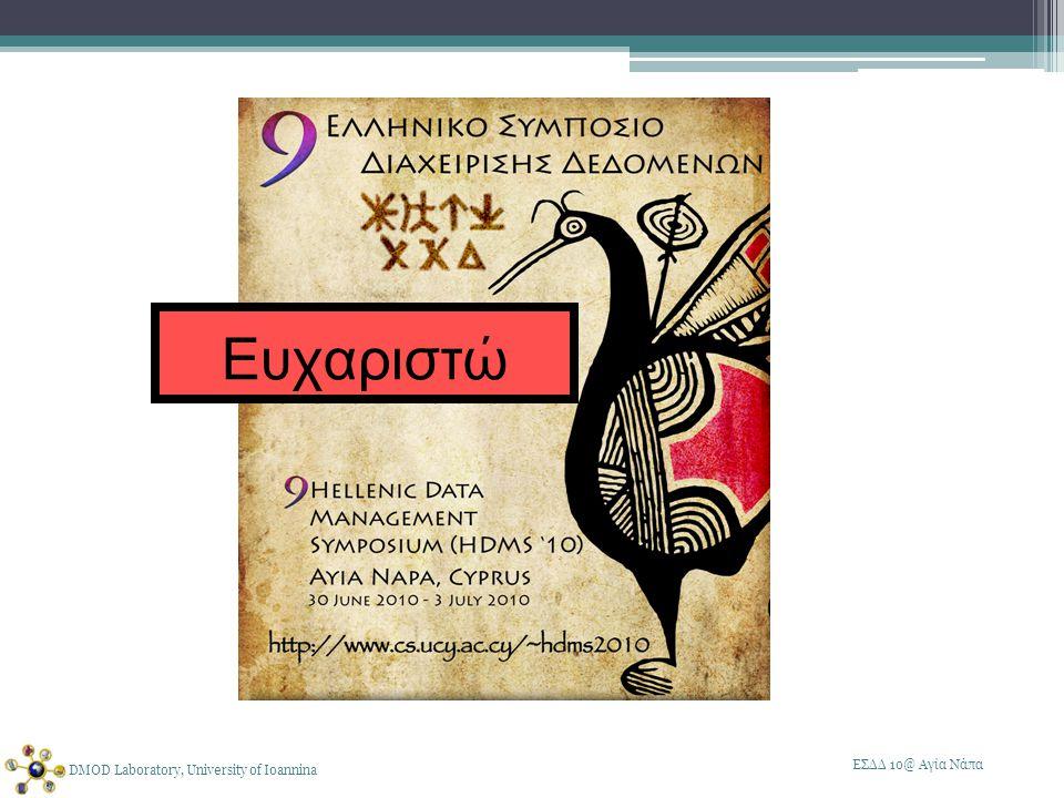 ΕΣΔΔ 10@ Αγία Νάπα DMOD Laboratory, University of Ioannina Ευχαριστώ