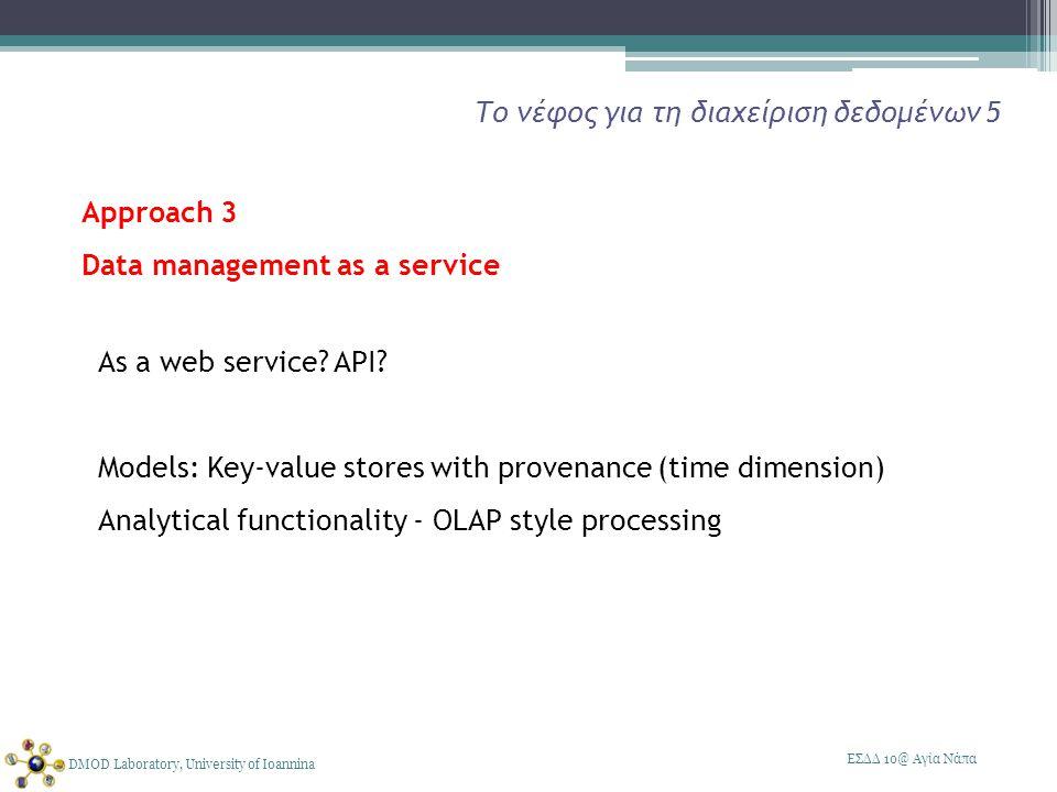 ΕΣΔΔ 10@ Αγία Νάπα DMOD Laboratory, University of Ioannina Το νέφος για τη διαχείριση δεδομένων 5 As a web service.