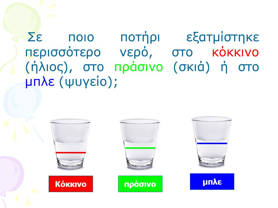 Σε ποιο ποτήρι εξατμίστηκε περισσότερο νερό, στο κόκκινο (ήλιος), στο πράσινο (σκιά) ή στο μπλε (ψυγείο); Κόκκινοπράσινο μπλε
