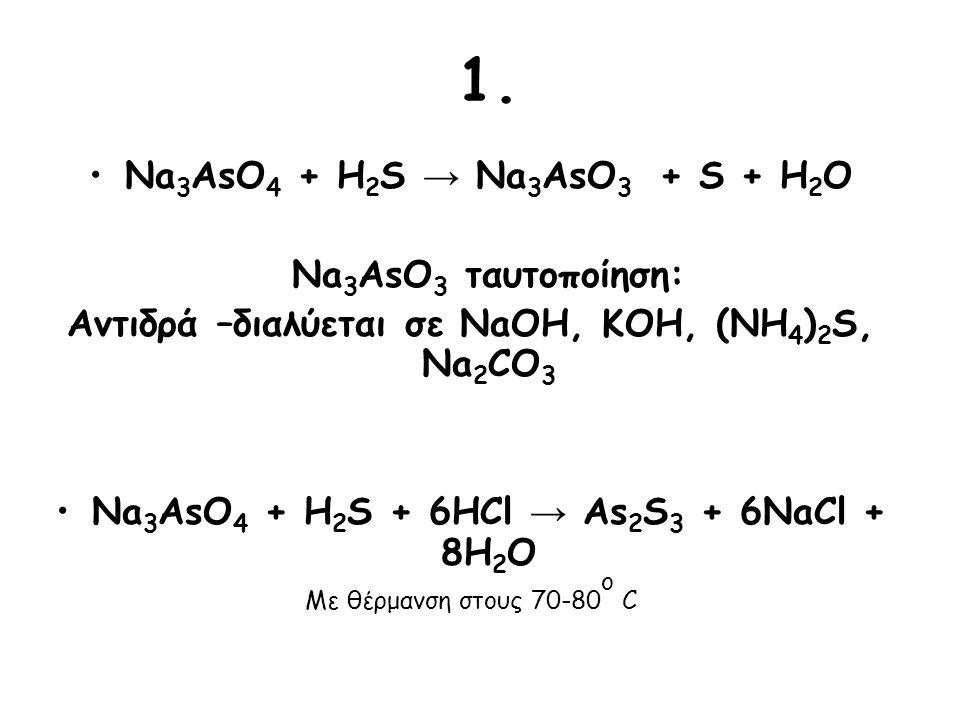 1. Na 3 AsO 4 + H 2 S → Na 3 AsO 3 + S + H 2 O Na 3 AsO 3 ταυτοποίηση: Αντιδρά –διαλύεται σε NaOH, KOH, (NH 4 ) 2 S, Na 2 CO 3 Na 3 AsO 4 + H 2 S + 6H