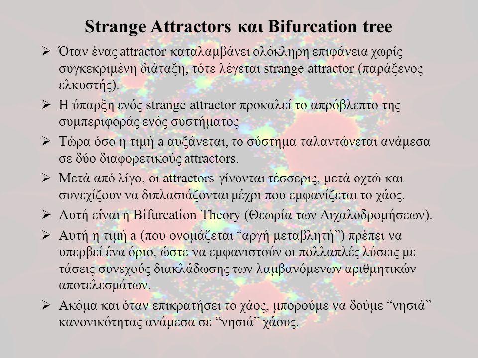  Όταν ένας attractor καταλαμβάνει ολόκληρη επιφάνεια χωρίς συγκεκριμένη διάταξη, τότε λέγεται strange attractor (παράξενος ελκυστής).  Η ύπαρξη ενός