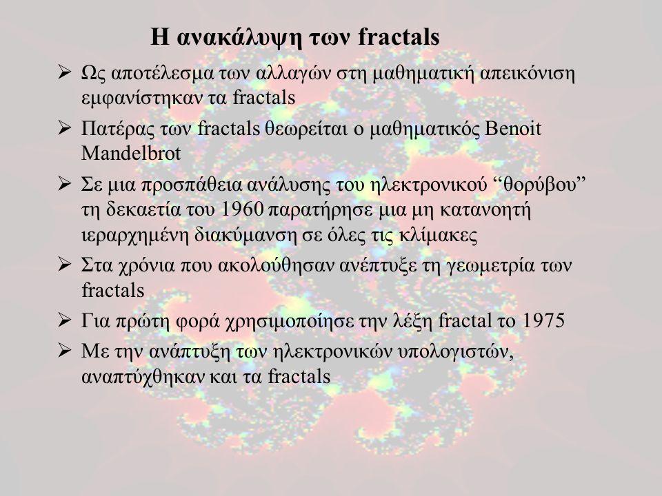  Ως αποτέλεσμα των αλλαγών στη μαθηματική απεικόνιση εμφανίστηκαν τα fractals  Πατέρας των fractals θεωρείται ο μαθηματικός Benoit Mandelbrot  Σε μ