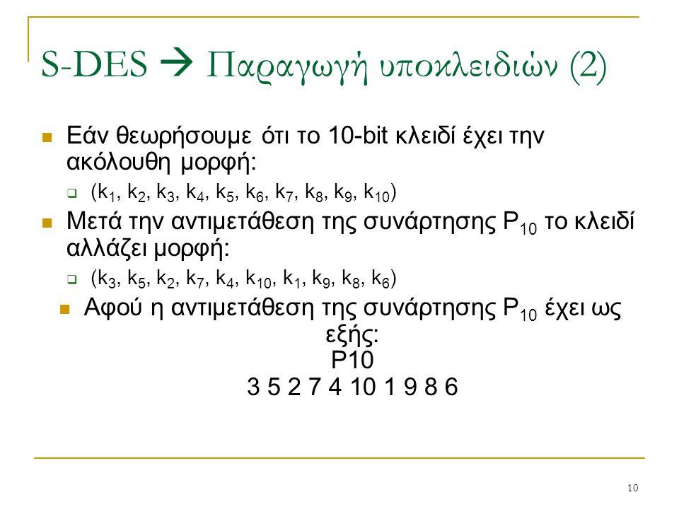 10 Εάν θεωρήσουμε ότι το 10-bit κλειδί έχει την ακόλουθη μορφή:  (k 1, k 2, k 3, k 4, k 5, k 6, k 7, k 8, k 9, k 10 ) Μετά την αντιμετάθεση της συνάρ