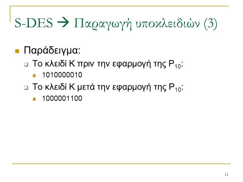 11 Παράδειγμα:  Το κλειδί Κ πριν την εφαρμογή της P 10 : 1010000010  Το κλειδί Κ μετά την εφαρμογή της P 10 : 1000001100 S-DES  Παραγωγή υποκλειδιώ