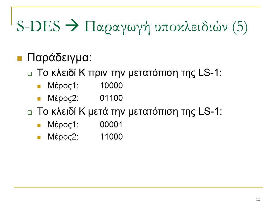 13 Παράδειγμα:  Το κλειδί Κ πριν την μετατόπιση της LS-1: Μέρος1:10000 Μέρος2:01100  Το κλειδί Κ μετά την μετατόπιση της LS-1: Μέρος1:00001 Μέρος2:1