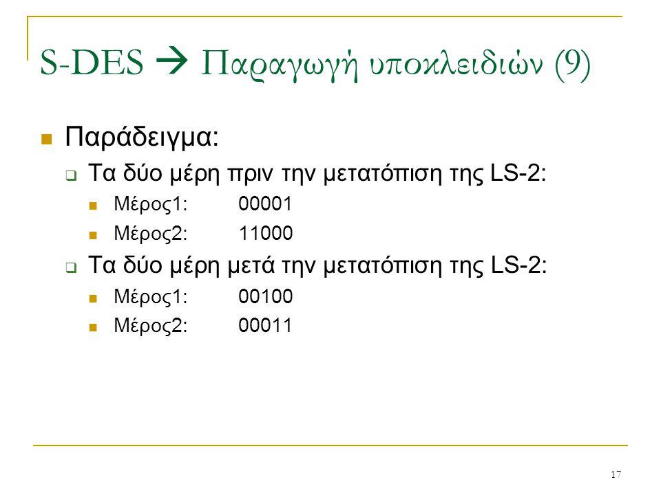 17 Παράδειγμα:  Τα δύο μέρη πριν την μετατόπιση της LS-2: Μέρος1:00001 Μέρος2:11000  Τα δύο μέρη μετά την μετατόπιση της LS-2: Μέρος1:00100 Μέρος2:0
