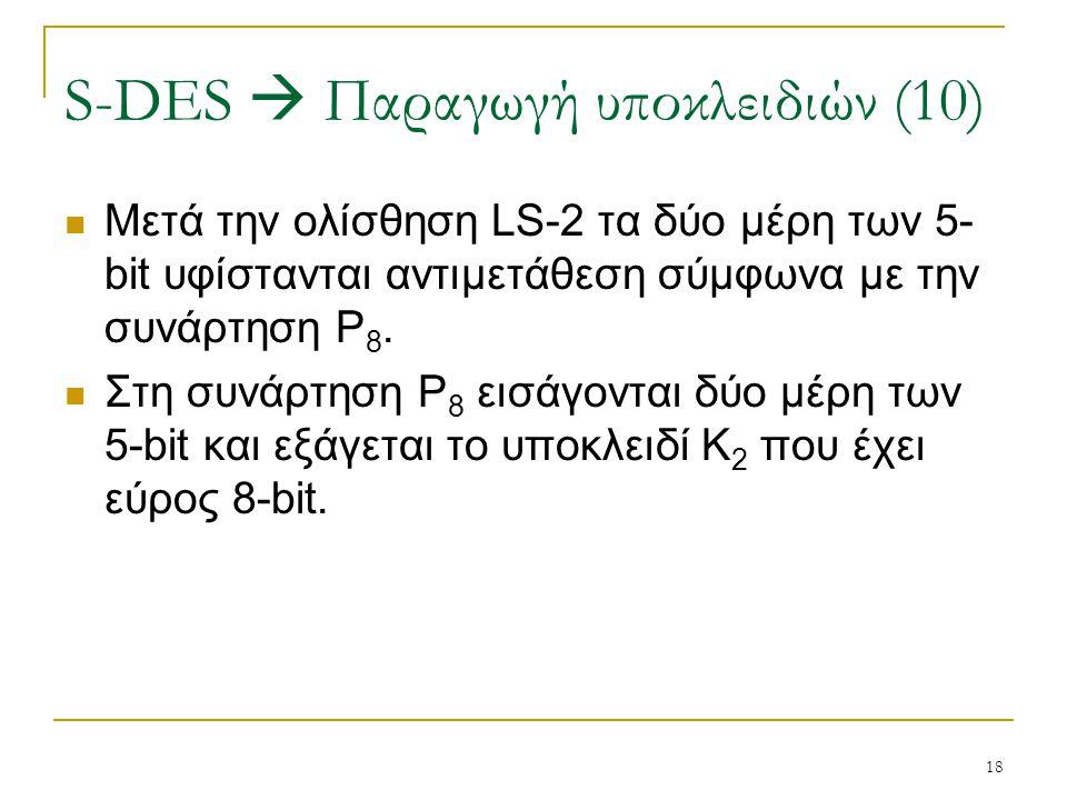 18 Μετά την ολίσθηση LS-2 τα δύο μέρη των 5- bit υφίστανται αντιμετάθεση σύμφωνα με την συνάρτηση P 8. Στη συνάρτηση P 8 εισάγονται δύο μέρη των 5-bit