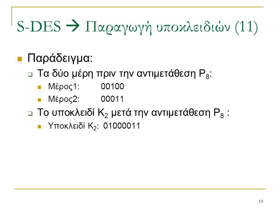 19 Παράδειγμα:  Τα δύο μέρη πριν την αντιμετάθεση P 8 : Μέρος1:00100 Μέρος2:00011  Το υποκλειδί Κ 2 μετά την αντιμετάθεση P 8 : Υποκλειδί Κ 2 : 0100