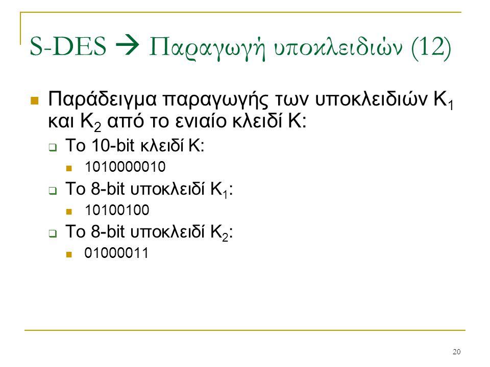 20 Παράδειγμα παραγωγής των υποκλειδιών Κ 1 και Κ 2 από το ενιαίο κλειδί Κ:  Το 10-bit κλειδί Κ: 1010000010  Το 8-bit υποκλειδί Κ 1 : 10100100  Το
