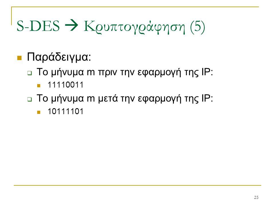 25 Παράδειγμα:  Το μήνυμα m πριν την εφαρμογή της IP: 11110011  Το μήνυμα m μετά την εφαρμογή της IP: 10111101 S-DES  Κρυπτογράφηση (5)