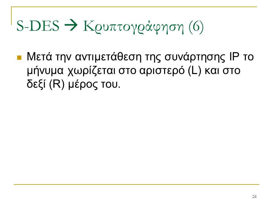 26 Μετά την αντιμετάθεση της συνάρτησης IP το μήνυμα χωρίζεται στο αριστερό (L) και στο δεξί (R) μέρος του. S-DES  Κρυπτογράφηση (6)