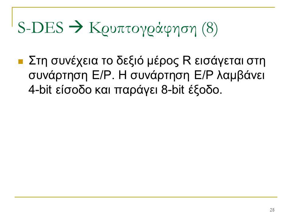 28 Στη συνέχεια το δεξιό μέρος R εισάγεται στη συνάρτηση E/P. Η συνάρτηση E/P λαμβάνει 4-bit είσοδο και παράγει 8-bit έξοδο. S-DES  Κρυπτογράφηση (8)