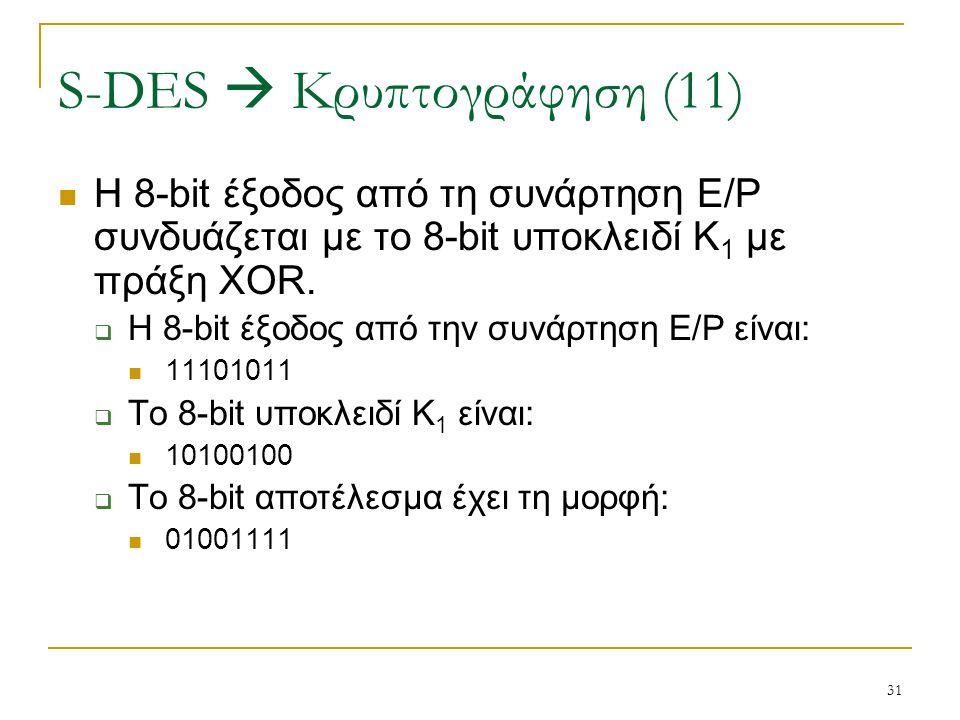 31 H 8-bit έξοδος από τη συνάρτηση E/P συνδυάζεται με το 8-bit υποκλειδί K 1 με πράξη XOR.  Η 8-bit έξοδος από την συνάρτηση E/P είναι: 11101011  Το