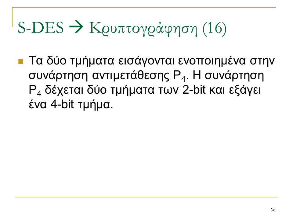 36 Τα δύο τμήματα εισάγονται ενοποιημένα στην συνάρτηση αντιμετάθεσης P 4. Η συνάρτηση P 4 δέχεται δύο τμήματα των 2-bit και εξάγει ένα 4-bit τμήμα. S