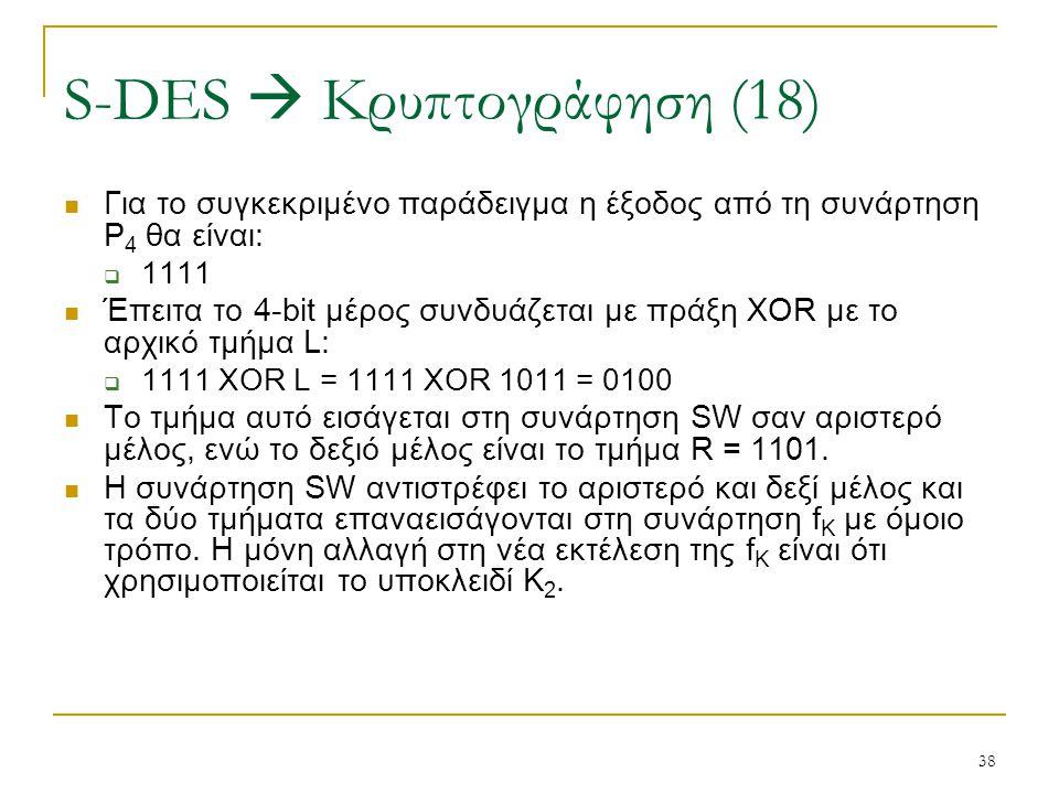 38 Για το συγκεκριμένο παράδειγμα η έξοδος από τη συνάρτηση P 4 θα είναι:  1111 Έπειτα το 4-bit μέρος συνδυάζεται με πράξη XOR με το αρχικό τμήμα L: