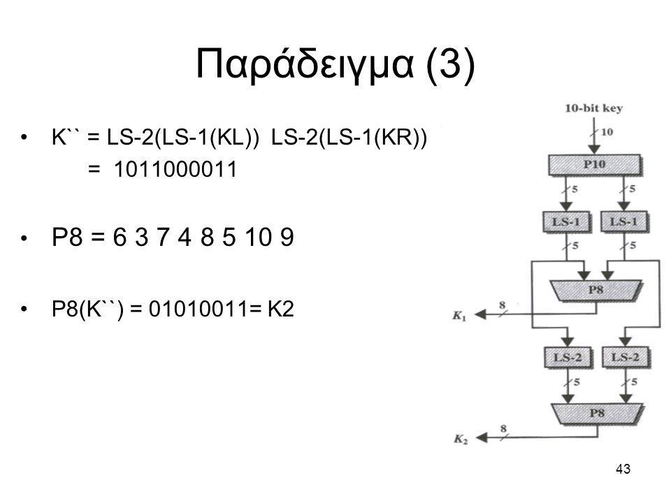 43 Παράδειγμα (3) K`` = LS-2(LS-1(KL)) LS-2(LS-1(KR)) = 1011000011 P8 = 6 3 7 4 8 5 10 9 P8(K``) = 01010011= K2