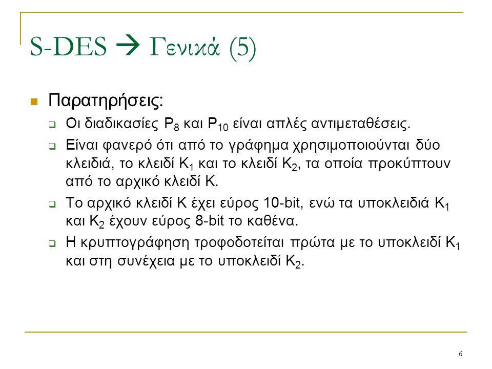 6 Παρατηρήσεις:  Οι διαδικασίες P 8 και P 10 είναι απλές αντιμεταθέσεις.  Είναι φανερό ότι από το γράφημα χρησιμοποιούνται δύο κλειδιά, το κλειδί Κ